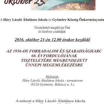 MEGHÍVÓ október 23-i megemlékezésre