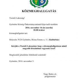 MEGHÍVÓ a november 16-i közmeghallgatásra