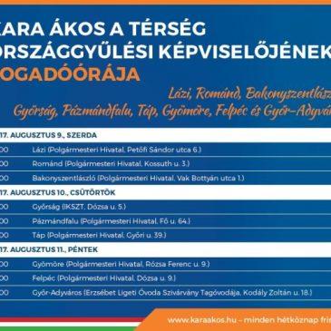 Kara Ákos országgyűlési képviselő fogadóórát tart Gyömörén