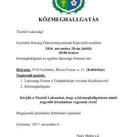 KÖZMEGHALLGATÁS 2017. november 20-án Gyömörén